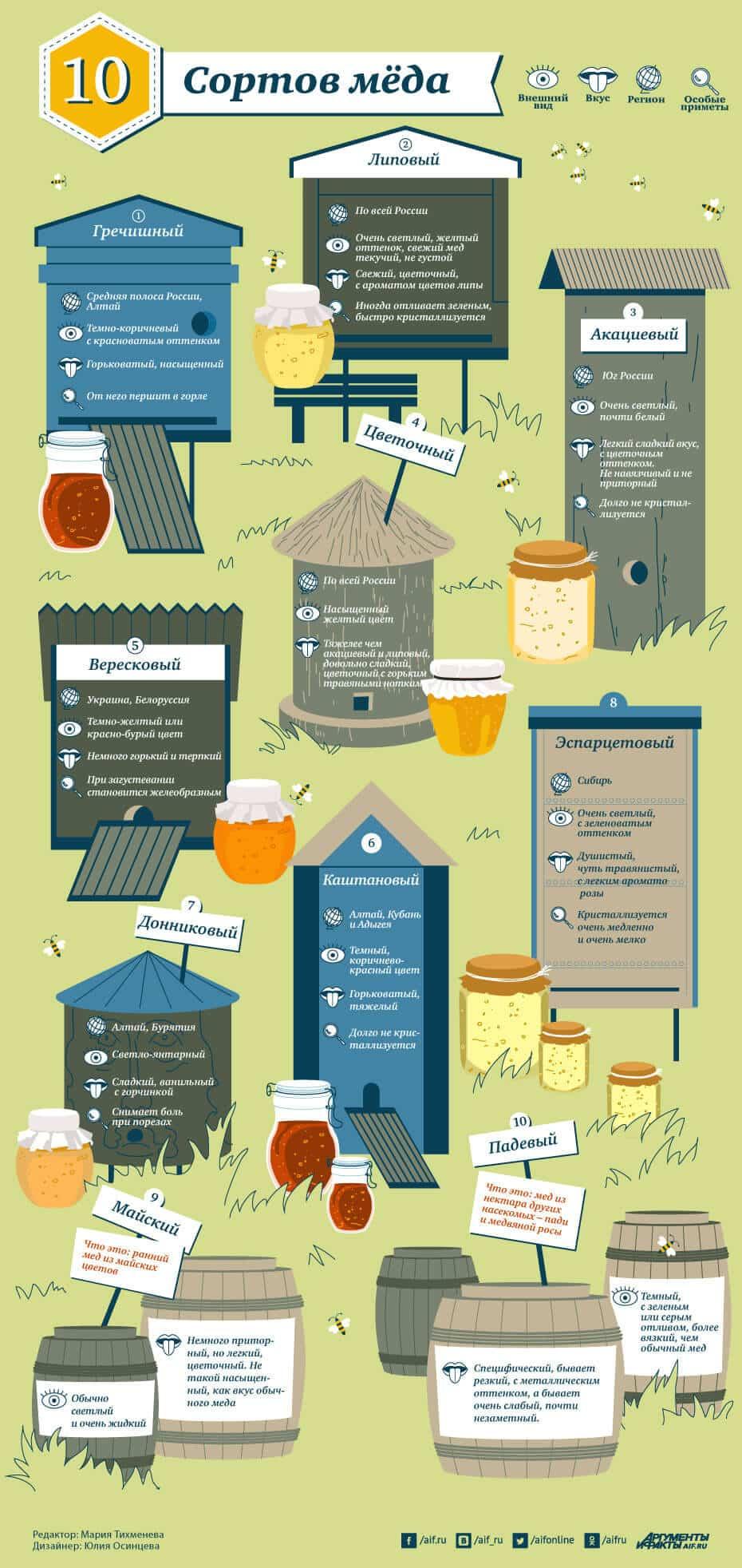 инфографика 10 сортов меда